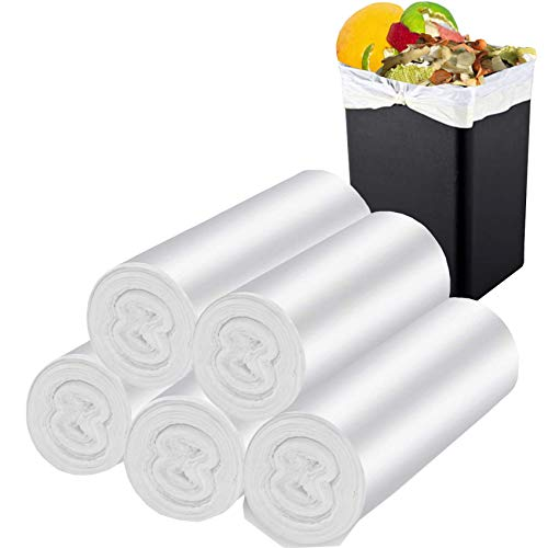 Trash Bags Biodegradable, Garbage Bags,Degradable Garbage Bags,Compostable Trash Bags for Kitchen Bathroom Home Office Garbage Can(100 Counts,White) (4-6 gallon)