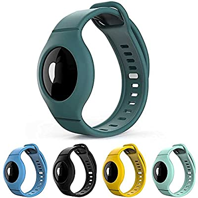 [5 Pack] Wristband for Airtag, Silicone Airtag Bracelet for Kids, Aairtag Watch Band for Kids Toddler Baby Children Elders, Colorful Waterproof Wristband Compatible with Apple AirTag 2021