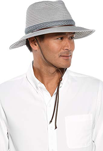 Coolibar UPF 50+ Men's Galileo Packable Travel Hat - Sun Protective (XX-Large- Fog)