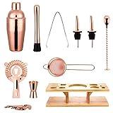 FONDUO Juego de coctelería con soporte de exhibición, accesorios de herramientas de barmender, kits de coctelera de mezcla de bebidas (oro rosa, 11 piezas), para camarero profesional y principiante