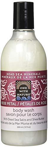 One With Nature Lotion nettoyante pour le corps - Parfum de pétales de rose - Sels minéraux de la Mer morte et beurre de karité hydratant - 360 ml
