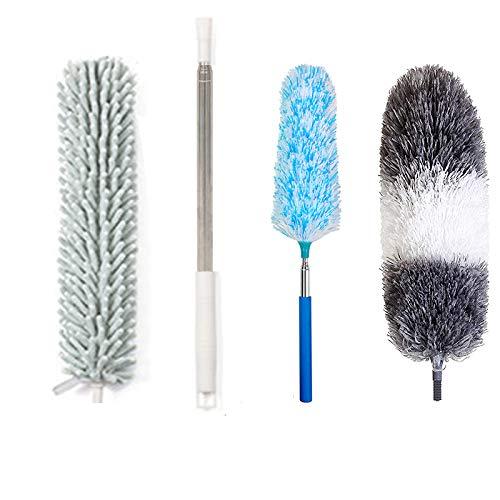 ホコリ取りブラシ 伸縮掃除モップ ZHIWHIS 252cmまで ステンレスロッド付き マイクロファイバー 洗いやすい 360°曲がるモップヘッド 壁掛け式 省スペース ワードローブ、エアコン、天井、ラックに適用 4点セット(掃除モップと予備用掃除モップブ