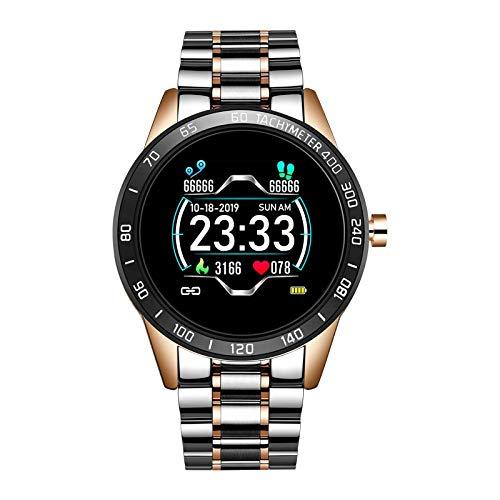 Steel Smart A Prueba de Agua Reloj Hombres Cuero Smart Watch Deporte para iPhone Ritmo cardíaco Presión Arterial Fitness Tracker SmartWatch (Color : Steel Rose Gold)