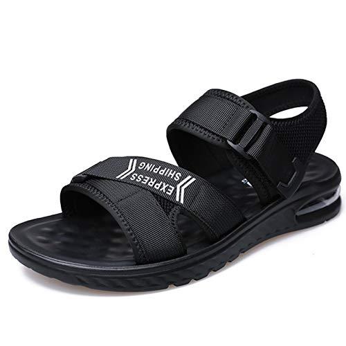 WENJIA Sandalias Deportivas de Verano para Hombres Comfort Classic Beach Shoes de Agua Malla de Tela de Punta Abierta Hook Plano y buclestrap Negro Antideslizante (Color : Black, Size : 40 EU)