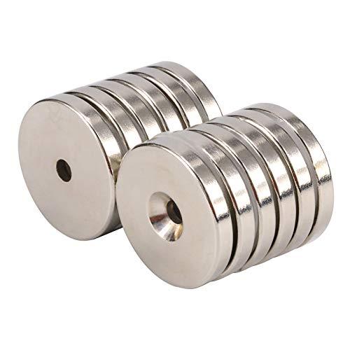 TACKTIMES Magnete al Neodimio 12 pezzi , Magneti a Foro Svasato con 12 kg di tiro Magenesisdi ,Diametro 32 x 5 mm