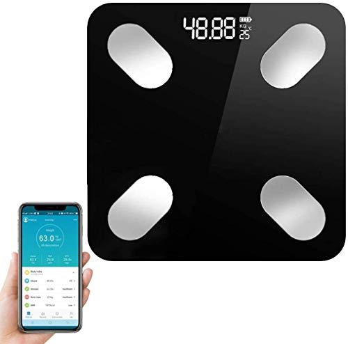 Glückluz Báscula Digital Inteligente Con Bluetooth 4.0 Inalámbrica Balanza De Grasa Corporal Escala de Grasa Corporal Analizador de Composición Corporal 18 Datos Relacionados Alta Precisión 396 Libras Compatible Con Android y IOS