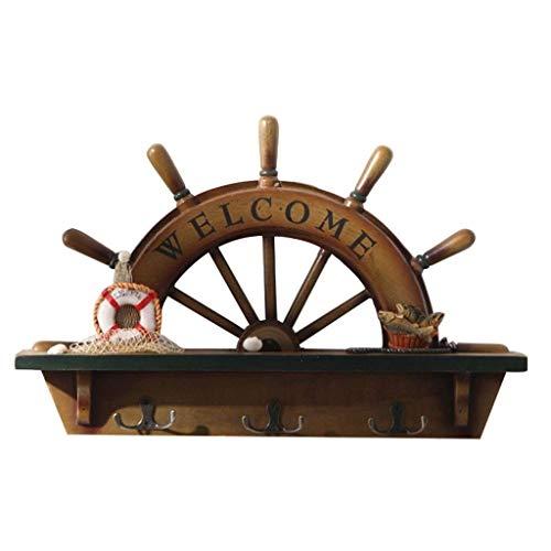Yxxc Perchero Compacto apilable Gancho de baño Retro Creativo Timón Estilo Llavero Sala de Estar Porche Gancho de Pared Decoraciones Ganchos para Abrigos D