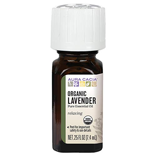 Aura Cacia 100% Pure Lavender Essential Oil | Certified Organic, GC/MS Tested for Purity | 7.4 ml (0.25 fl. oz.) | Lavandula angustifolia