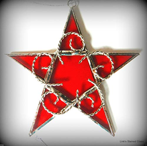Stained Glass Star Sun Catcher, Red