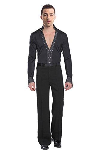 BOZEVON Hommes Mode Noir Danse Latine Costumes Performance Manches Longues Chemise/Pantalon Jazz Danse Tenues Ensemble, Chemise + Pantalon, Tag S = EU XS