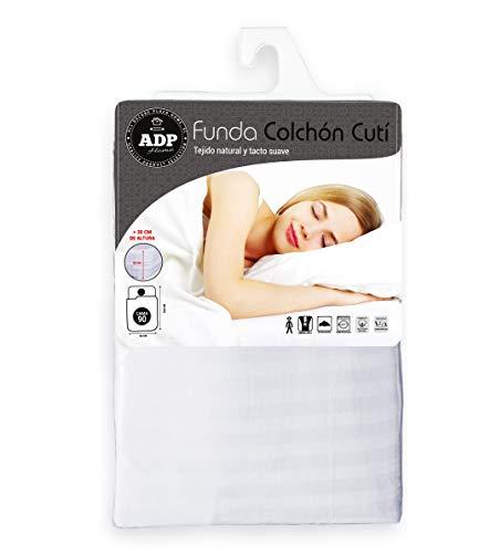 ADP Home - Funda de colchón Cutí con Cremallera L, 90x200+30 cm (para Cama de 90 cm), Blanco