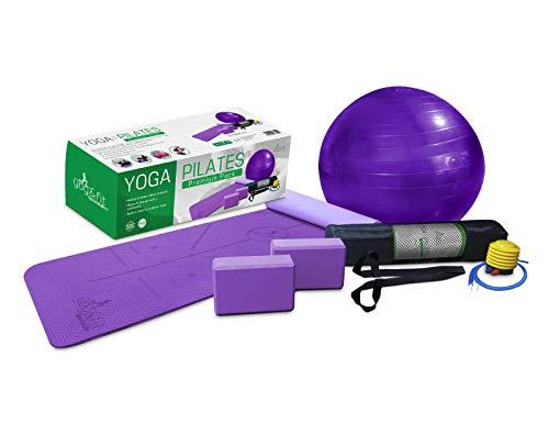 YOG&FIT- Pack Premium Yoga Pilates. Kit Set Yoga Principiantes e iniciados (6 Productos) 1 Esterilla Yoga Antideslizante 6mm TPE, 2 Bloques EVA,1 Pelota 65Cm, 1 Bolsa Transporte y 1correa. (Morado)