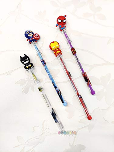 Prezzie Villa Pack of 4 Designer Bullet Pencils Avenger Superhero Design Assorted Colours Birthday Gift Return Gifts for Kids Spiderman Captain America Iron Man Batman