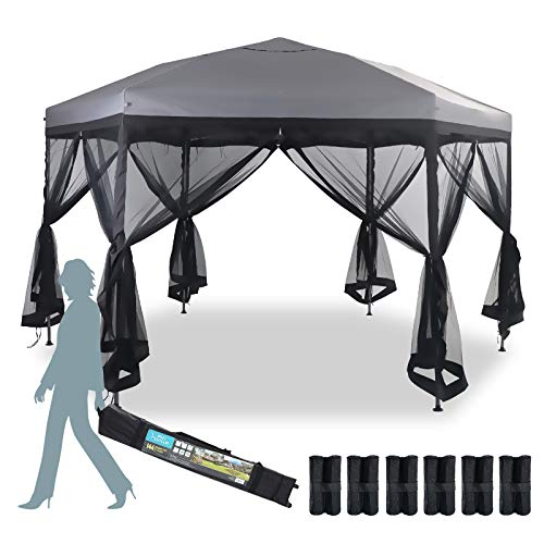 MFSTUDIO 12'x10' Hexagon Pop-Up Portable 6 Sided Gazebo with Mosquito Netting,Instant Screened Canopies with Heavy Duty Roller Bag,Bonus 6 Canopy Sand Bags(112 Square Feet of Shade),Grey
