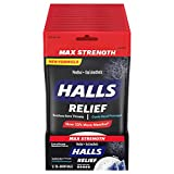 Halls Relief Max Strength Extra Strong Menthol Throat Drops, 12 Packs of 30 Drops