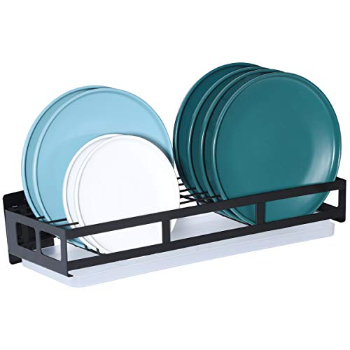 Hanging Dish Drying Rack Wall Mount With Utensil Holder,Home Kitchen Storage Dish Rack With Drain Board,Durable-Stainless Rust Proof,Black (Dish Racks)