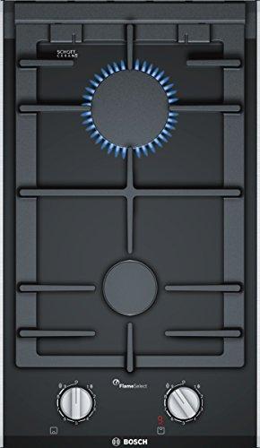 Bosch PRB3A6D70D Serie 8 Domino-Gaskochfeld / 30 cm / Schwarz / Schwertknebel / 1-Hand-Zündung / FlameSelect / spülmaschinenfeste Topfträger / TopControl-Digitalanzeige
