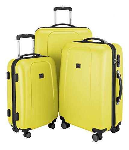 HAUPTSTADTKOFFER - Wedding - Set di 3 Valigie Trolley rigido TSA 4 ruote ABS, (S, M, L), Giallo