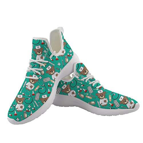 chaqlin Nette Damen Schuhe Krankenschwester Sneaker Casual Cartoon Bär Krankenschwester Arzt Wohnungen Laufschuhe Atmungsaktive Damen Mädchen Wanderschuhe mit EU43