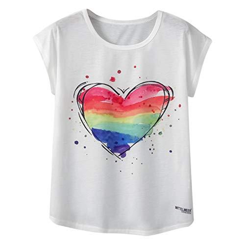 Camiseta de manga corta para mujer, diseño vintage, para verano, para mujer, hombre, adolescente, niña multicolor XL