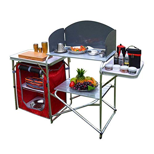 Klappbarer Camping-Tisch Tragbarer Picknicktisch Aluminiumlegierung 1680D Oxford-Stoff Mobiler Küchentisch Kochtisch Aufbewahrungstisch für Gartenpatio BBQ Party lili