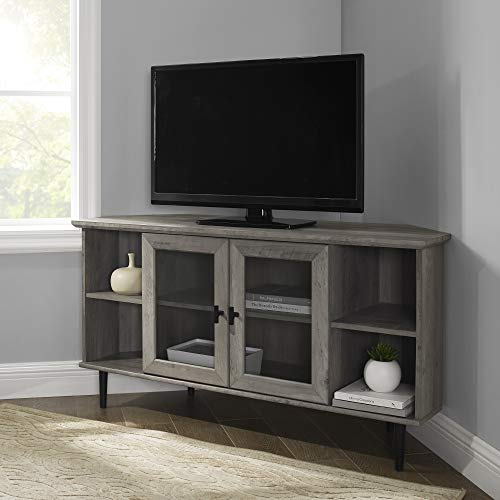 """Walker Edison Modern Wood Corner Universal Stand with Open Shelves Glass Cabinet Doors TV's up to 55"""" Flat Screen Living Room Storage Entertainment Center, 48 Inch, Grey Wash"""