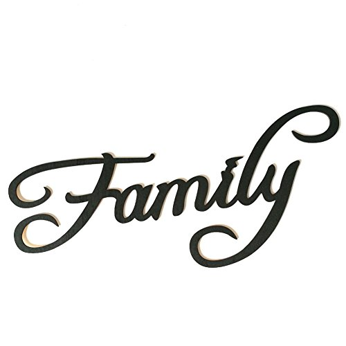 Ocamo Schriftzug Holz Family Vintage Buchstaben,Holz Schwarz Buchstabe Wanddeko Stylisch Aufhängen Anhänger Ornament Familie