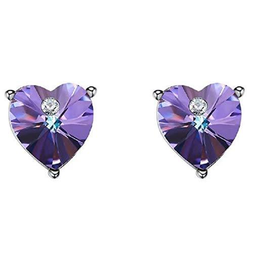 Pendientes colgantes de amor de amatista brillante con tachuelas de cristal de Swarovski 925 de plata sin alergia para damas
