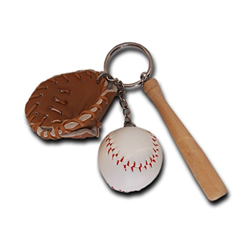 AtlantisForYou Mini-Baseball-Schlüsselanhänger aus Holz, dreiteilig