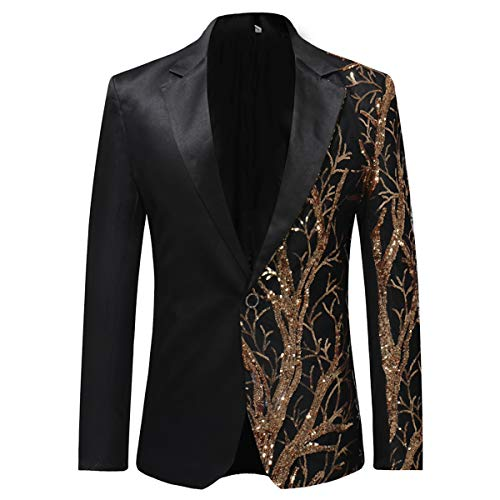 COOFANDY Men's Floral Party Dress Suit Stylish Wedding Blazer Prom Dinner Tuxedo Jacket Golden