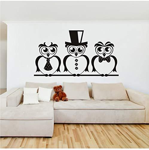 Smart Owls Haut Chapeau Et Cravate Oiseaux & Plumes Vinyle Stickers Muraux Décor À La Maison Art Stickers Chambres D'enfants 79x43 cm