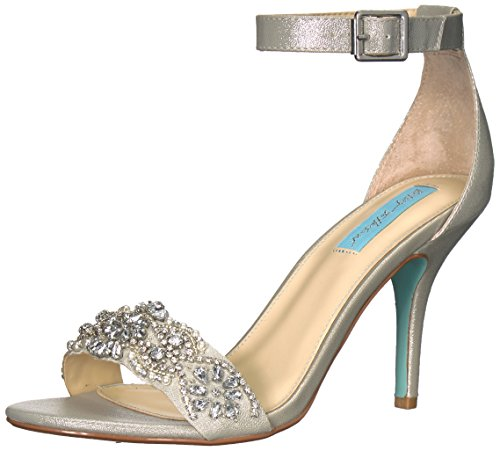 Blue by Betsey Johnson Women's SB-Gina Heeled Sandal, Silver, 7 W US