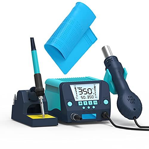 XDXDO Termostato Digital Profesional Estación De Soldadura 2 En 1 Estación De Desoldadura De Pistola Caliente De 650 W, con Almohadilla De Reparación Y Boquilla, Ajuste De Temperatura De 100-500 ℃