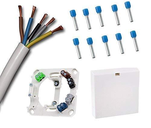 Herdanschlussdose mit 2,5 Meter Herdanschlusskabel weiß H05VV-F 5G2,5 mm² (2,5 m) und farbigen Anschlussklemmen passend zu den Kabeladern inkl. 10 x passende Adernhülsen (Grundpreis Kabel 3,30€/m)