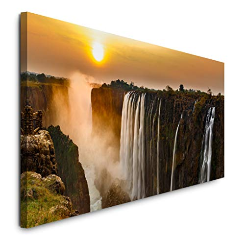 Paul Sinus Art GmbH Wasserfall mit Sonnenuntergang 120x 50cm Panorama Leinwand Bild XXL Format Wandbilder Wohnzimmer Wohnung Deko Kunstdrucke