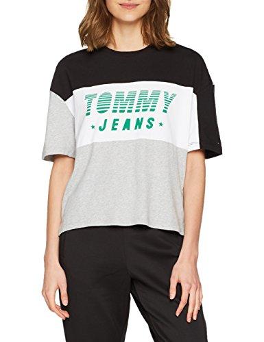 Tommy Jeans Damen Color Block Racing Logo Kurzarm T-Shirt Blau (Tommy Black / Multi 903) X-Small