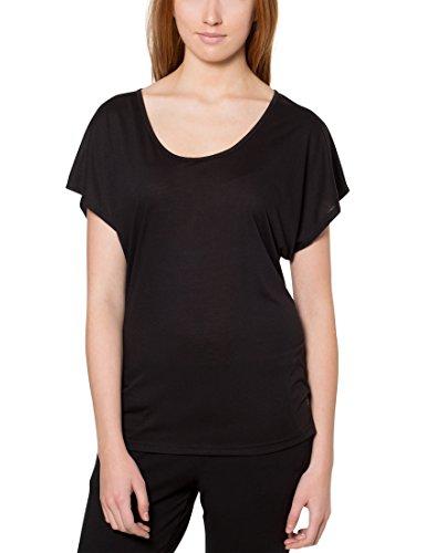 Ultrasport Camiseta de Yoga para Mujer Light Action - Camiseta Suelta de Mujer con Cuello Redondo Camiseta Deportiva de Mujer Holgada con Manga Corta, Negro, XS