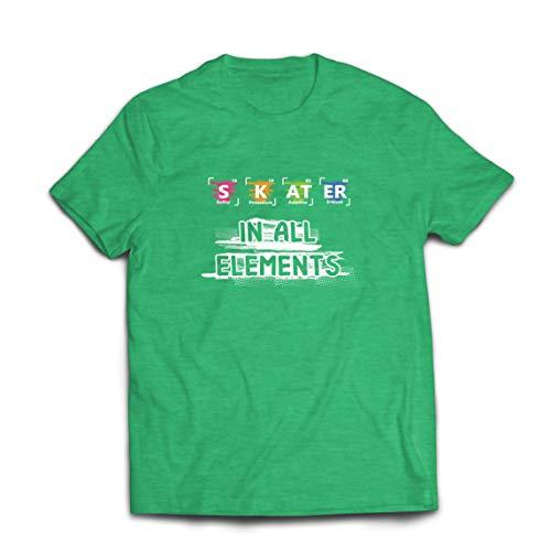 lepni.me Camisetas Hombre Patinador en Todos los Elementos Qumica Peridica de Mesa Deporte (XX-Large Brezo Verde Multicolor)
