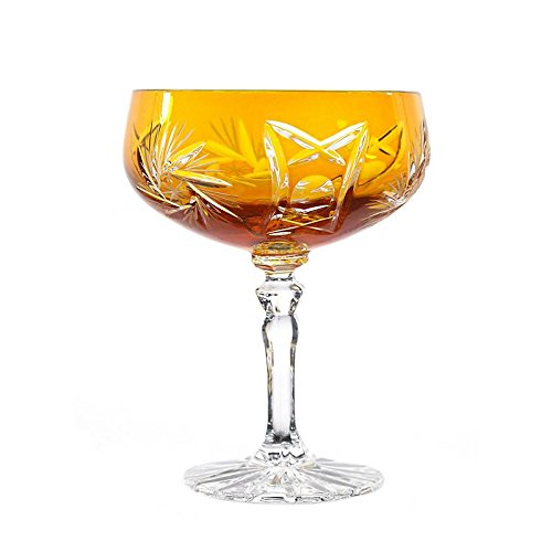CRISTALICA Verre à Champagne Schleudertsern 200ml Verre en Cristal Au Plomb Jaune