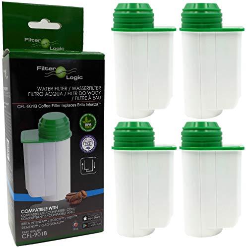 FilterLogic CFL-901B   Lot de 4 - Filtre à eau pour Siemens série EQ EQ.3 EQ.5 EQ.6 EQ.7 EQ.8 EQ.9 plus machine à café automatique compatible avec Brita Intenza TCZ7003 TZ70003 17000705 17000706