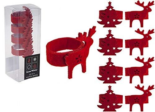 PMS Serviettenringe aus Filz, in PVC-Box, 2 Verschiedene Designs, 4 Stück