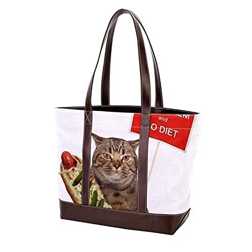 NaiiaN Halten Sie ruhig und keine Diät Katze Handtaschen Leichter Riemen Einkaufstasche Umhängetaschen Geldbörse Einkaufen für Mutter Frauen Mädchen Damen Student