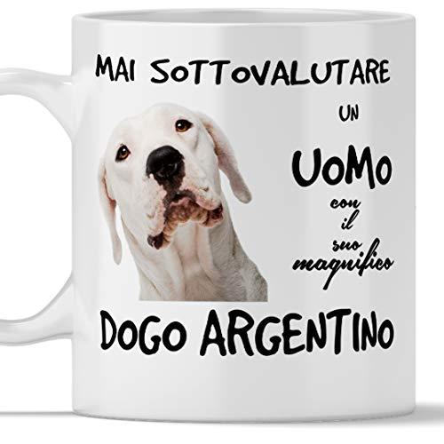 Taza Dogo Argentino para hombre apta para desayuno, té, tisana, café, capuchino. Gadget taza nunca subestimar un hombre con un perro Dogo Argentino. Idea regalo original