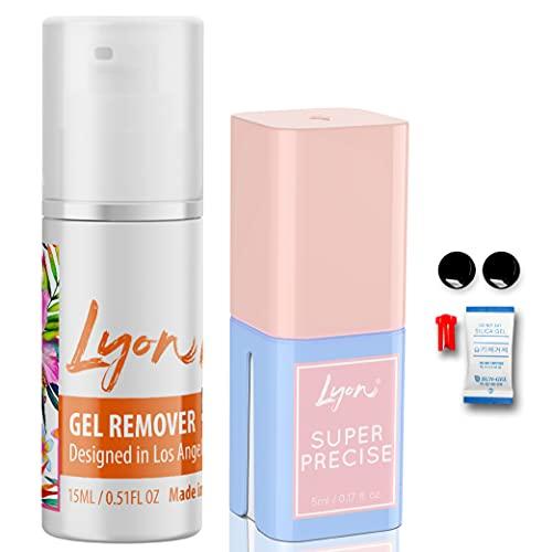 Lyon Lash SUPER PRECISE 5 ml Eyelash Extension Glue and Gel Remover 15ml for Professional Eyelash Extensions Bundle | Professional Use | 5ml Performance Glue | Essential Lash Supplies