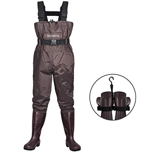 Dark Lightning Fly Fishing Waders for Men and Women with Boots, Mens/Womens High Chest Wader with Boot Hanger (Brown, M9/W11)