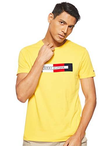 Tommy Hilfiger Herren Box RWB Logo Tee Sporttop, Gelb (Spectra Yellow Zcm), Large (Herstellergröße:L)