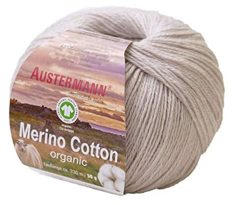 austermann Merino Cotton Organic, Sand 10, Biowolle zum Stricken und Häkeln, Wolle GOTS Zertifiziert