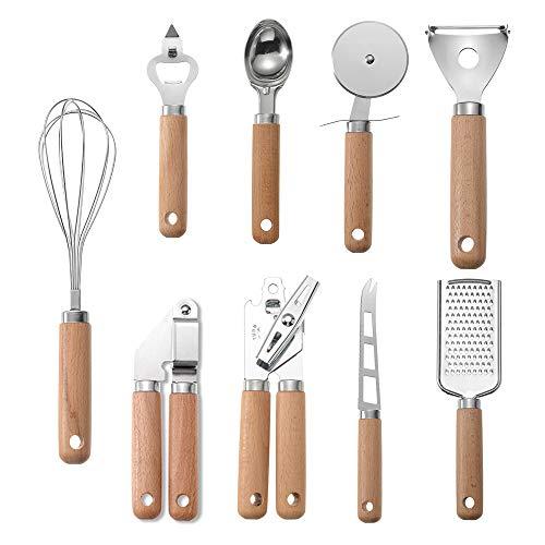 Gobesty Juego de utensilios de cocina, 9 unidades, acero inoxidable, resistente al...