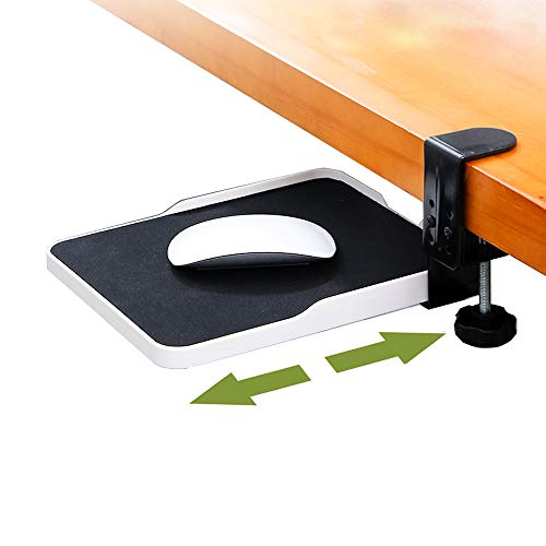 YANGHX - Abrazadera para bandeja de ratón debajo del escritorio con abrazadera para plataforma de ratón ergonómica, extensor deslizante blanco blanco