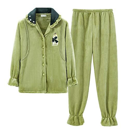 Pijamas Pijamas para Mujeres Embarazadas Servicio de hogar de Ancianos Franela de otoño e Invierno para Mujeres Ropa de confinamiento Grueso más Terciopelo Coral Pijamas de Terciopelo para d